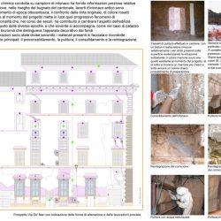 Elaborato grafico relativo al restauro delle superfici con immagini del cantiere