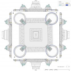 Pianta della fontana con indicazione dei materiali costitutivi