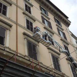 Dettaglio della facciata su Lungotevere Prati durante le lavorazioni