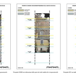 Prospetti con indicazioni delle quote dei solai medievali e cinquecenteschi