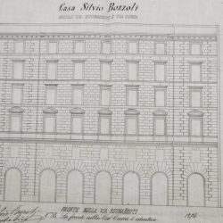 Progetto della facciata del palazzo su Via Poliziano_documento d'archivio