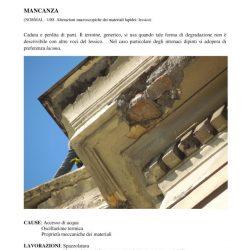 Scheda di degrado degli elementi decorativi in stucco